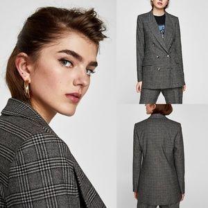 NWT Zara Plaid Check Double Breasted Blazer